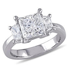 Allura 2.56 CT Princess Cut Diamond 3-Stone Engagement Ring in Platinum