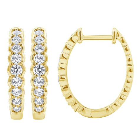 0.46 CT. T.W. Diamond Hoop Earrings in14K Yellow Gold