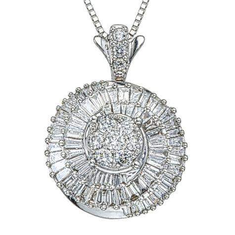 0.96 CT. T.W. Diamond Pendant in 14K White Gold