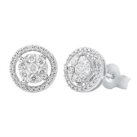 0.96 CT. T.W. Diamond Earrings in 14K White Gold