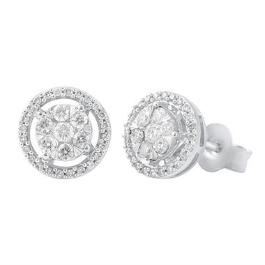 0.96 CT. T.W. Diamond Earrings in 14K White Gold