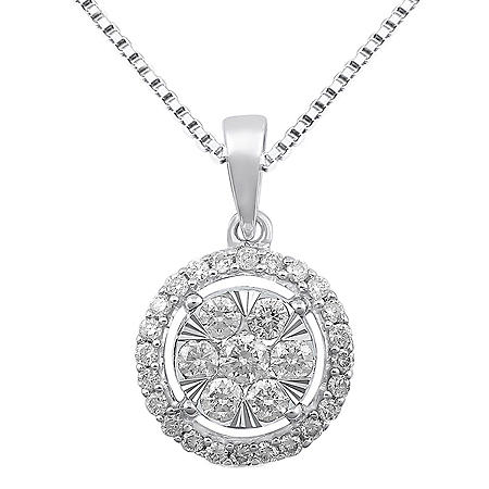 0.96 CT. T.W. Diamond Pendant in 14K White Gold