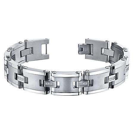Spartan .09 CT. T.W. Diamond Stainless Steel Bracelet