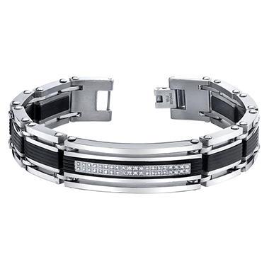 spartan 20 ct t w diamond stainless steel bracelet