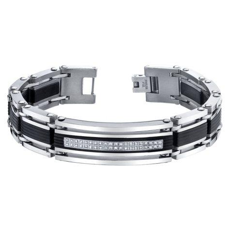 Spartan .20 CT. T.W. Diamond Stainless Steel Bracelet