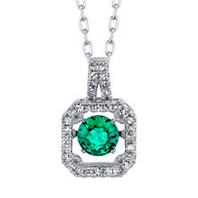 Dancing Lab Emerald with .18tw Diamond Pendant in 14K White Gold