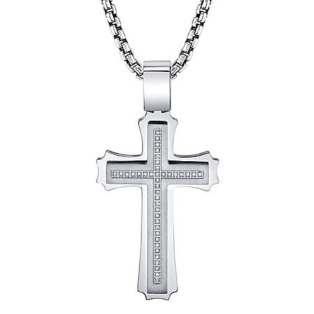 Spartan .20 CT. T.W. Diamond Cross Stainless Steel Pendant