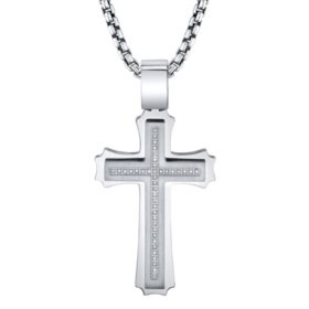 Spartan .20 CT. T.W. Diamond Cross Stainless Steel Pendant
