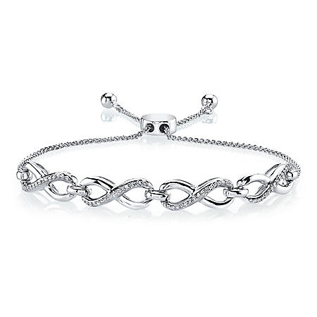 .18 CT. T.W. Diamond Bolo Bracelet in Sterling Silver
