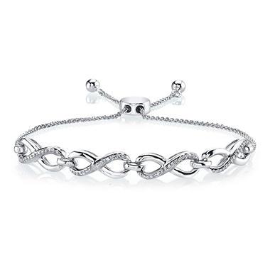 18 Ct T W Diamond Bolo Bracelet In Sterling Silver