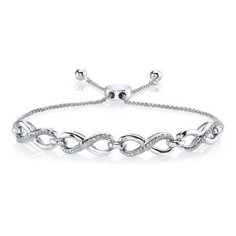 .18 CT. T.W. Diamond Bolo Bracelet in Sterling Silver