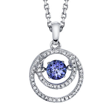 Dancing Tanzanite with .16 T.W. Diamond Pendant in Sterling Silver