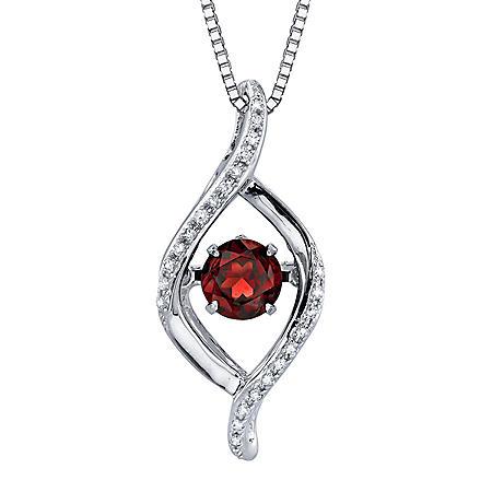 Dancing Garnet Diamond Accent Pendant in Sterling Silver
