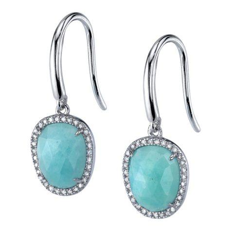 Amazonite 0.18 CT. T.W. Diamond Earrings in Sterling Silver