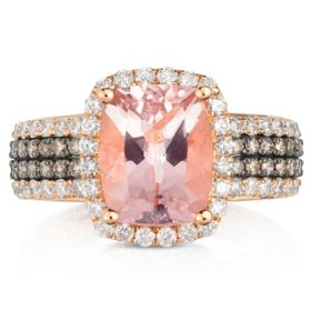 2.5 CT. Cushion Cut Morganite Ring with 0.75 CT. T.W. Diamonds in 14K Rose Gold