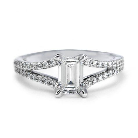 Premier Diamond Collection 1.19 CT. TW. Emerald Cut Diamond Split Band Ring in 18K White Gold - GIA & IGI (F, VS2)
