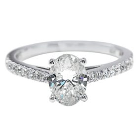 Premier Diamond Collection 1.51 CT. T.W. Oval Diamond Ring in 18K White Gold - GIA & IGI (I, SI1)