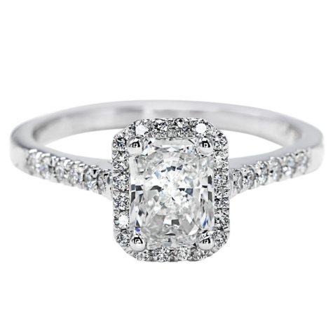 Premier Diamond Collection 1.29 CT. T.W. Radiant Diamond Halo Ring in 18K White Gold - GIA & IGI (G, SI1)