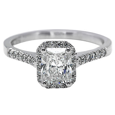 Premier Diamond Collection 1.54 CT. T.W. Radiant Diamond Halo Ring in 18K White Gold - GIA & IGI (G, SI1)