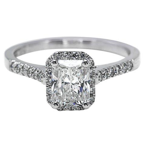Premier Diamond Collection 1.54 CT. T.W. Radiant Diamond Halo Ring in 18K White Gold - GIA & IGI (G, SI1)