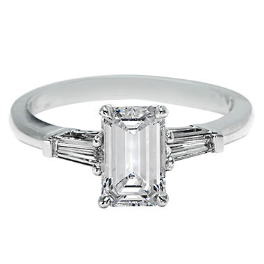Premier Diamond Collection 1 51 Ct T W Emerald Cut Ring With Tapered Baguettes In 18k