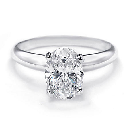 Premier Diamond Collection 2.02 CT. Oval Shaped Diamond Solitaire Ring in Platinum - GIA-IGI (G, VS2)