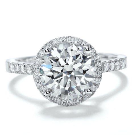 Premier Diamond Collection 3.35 CT. T.W. Round Brilliant Diamond Halo Ring in Platinum - GIA & IGI (I, VS1 )