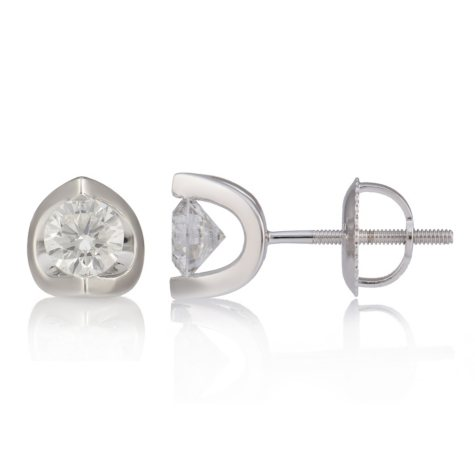 0.72 CT. T.W. Canadian Diamond Round Stud Earrings in 14K White Gold (I, I1)
