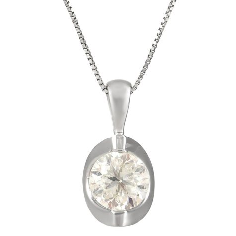 0.45 CT. T.W. Canadian Diamond Round Solitaire Pendant in 14K White Gold (I, I1)