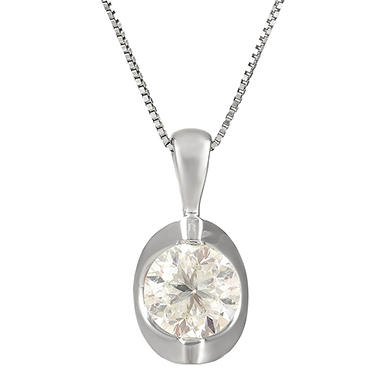 0.72 CT. T.W. Canadian Diamond Round Solitaire Pendant in 14K White Gold (I, I1)