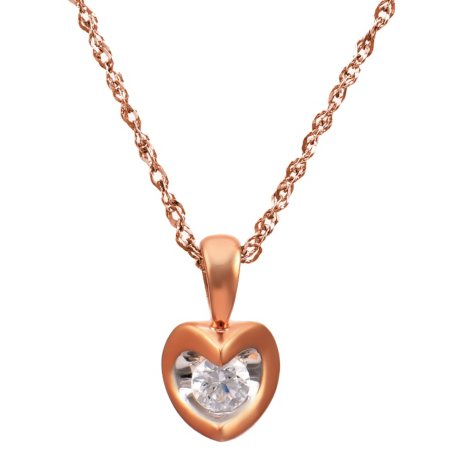 0.08 CT. T.W. Canadian Diamond Round Solitaire Pendant in 14K Pink Gold (I, I1)