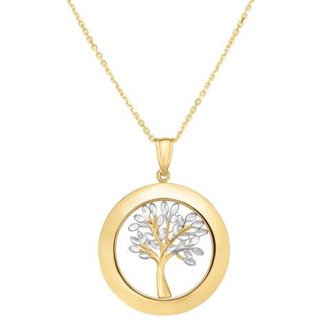 14 Karat Gold Two Tone Tree of Life Pendant