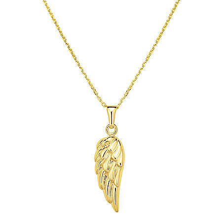 14 Karat Yellow Gold Angel's Wing Hollow Pendant
