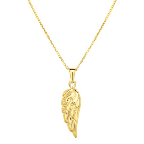 14 Karat Yellow Gold Angel's Wing Hollow Pendant