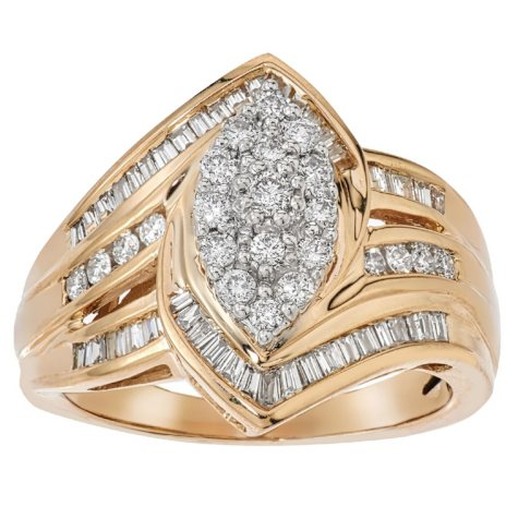0.98 CT. TW. Marquise Shape Diamond RIng in 14K Yellow Gold (H-I, I1)