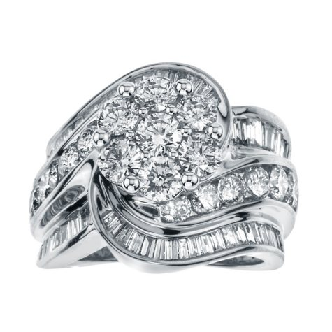 4.00 ct. t.w. Diamond Swirl Bridal Ring in 14k Gold (HI, I1)