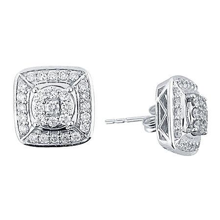 0.98 CT. T.W. Diamond Earrings in 14k White Gold (H-I, I1)