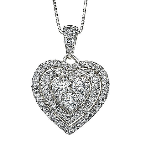 0.98 CT. T.W. Diamond Pendant in 14K White Gold (H-I, I1)