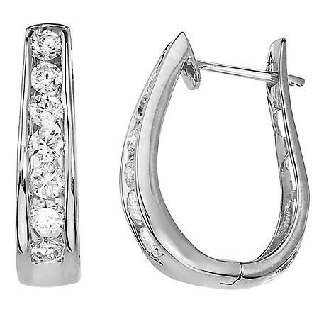 0.98 CT. T.W. Diamond Hoop Earrings in 14K White Gold (H-I, I1)