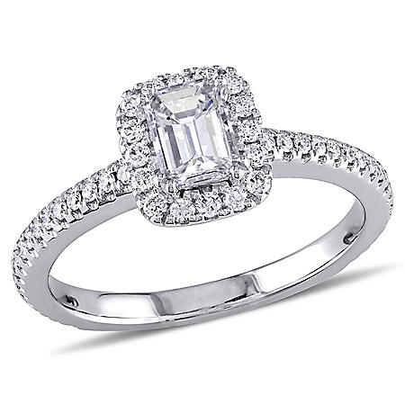Allura 0.87 CT. T.W. Emerald-Cut Diamond Halo Engagement Ring in 14K White Gold