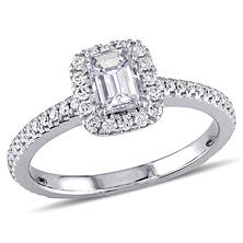 0.87 CT. T.W. Emerald-Cut Diamond Halo Engagement Ring in 14K White Gold