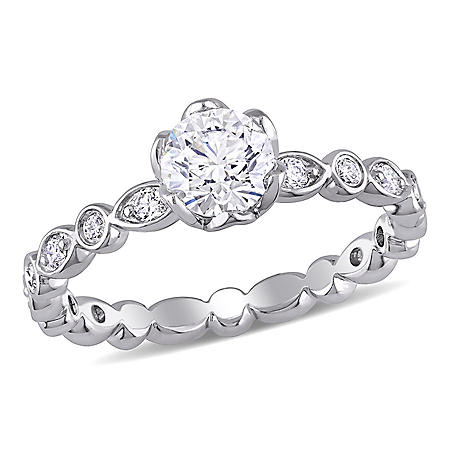 Allura 1 CT Diamond Floral Engagement Ring in 14k White Gold