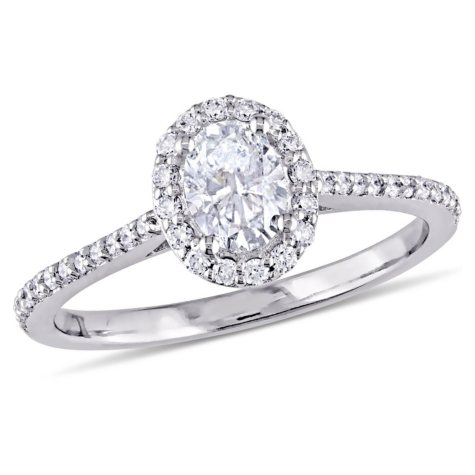 Allura 0.75 CT Oval-Cut Diamond Halo Engagement Ring in 14k White Gold