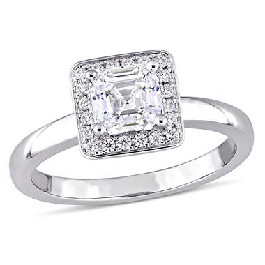 Allura 1 CT Asscher-Cut Diamond Halo Engagement Ring in 14k White Gold