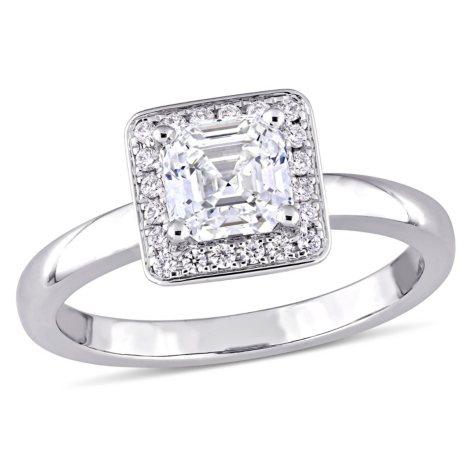 Allura 1 CT Asscher-Cut Diamond Halo Engagement Ring in 14k White Gold