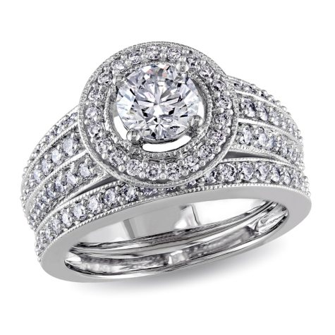Allura 1.50 CT Diamond Halo Wedding Ring Set in 14k White Gold