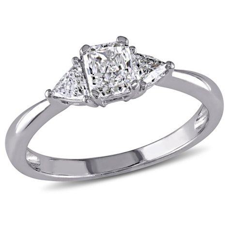 Allura 0.75 CT Radiant-Cut Diamond Three-Stone Engagement Ring in 14k White Gold