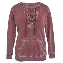 Green Tea Mineral Wash Lace Up Hoodie