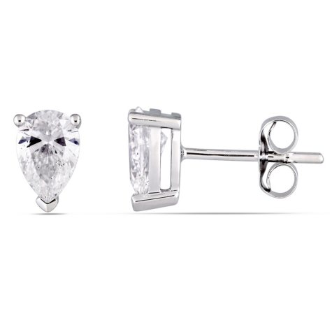 Allura 1 CT. T.W. Pear-Cut Diamond Stud Earrings in 14K White Gold