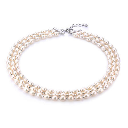 925 Cultured Freshwater Pearl and Diamond Cut Bead Triple Strand Necklace With Adjustable Extender